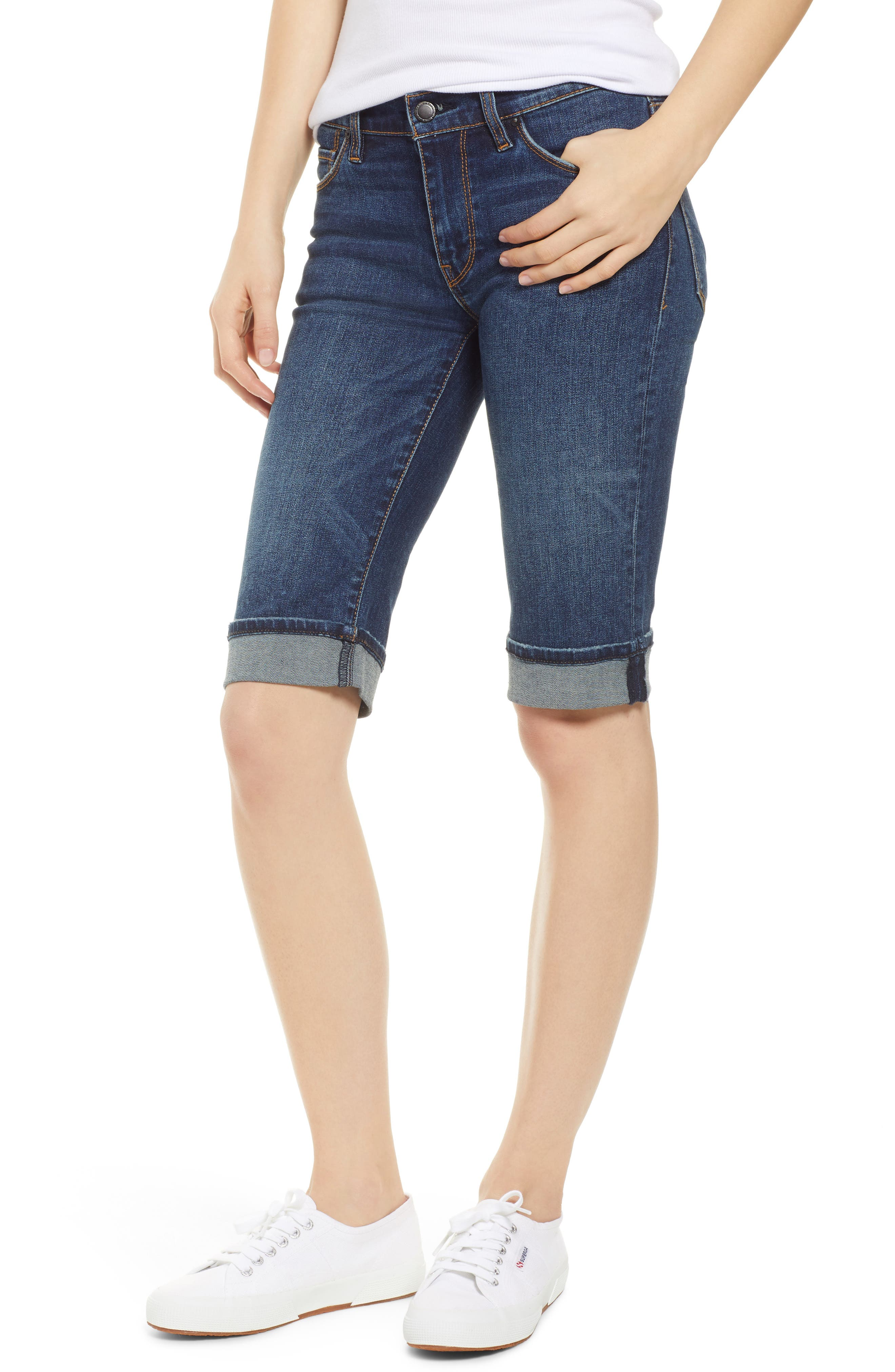 Not too short, not too long. just right. Sleekly fitted like your favorite skinnies, these versatile shorts feature cute rolled cuffs that highlight the sunshine-ready length. Style Name: Hudson Jeans Amelia Rolled Knee Shorts (Vagabond). Style Number: 5320757. Available in stores.
