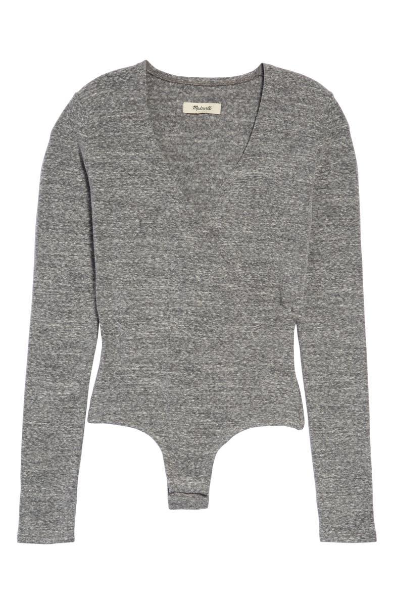 MADEWELL Wrap Bodysuit, Main, color, HTHR SMOKE