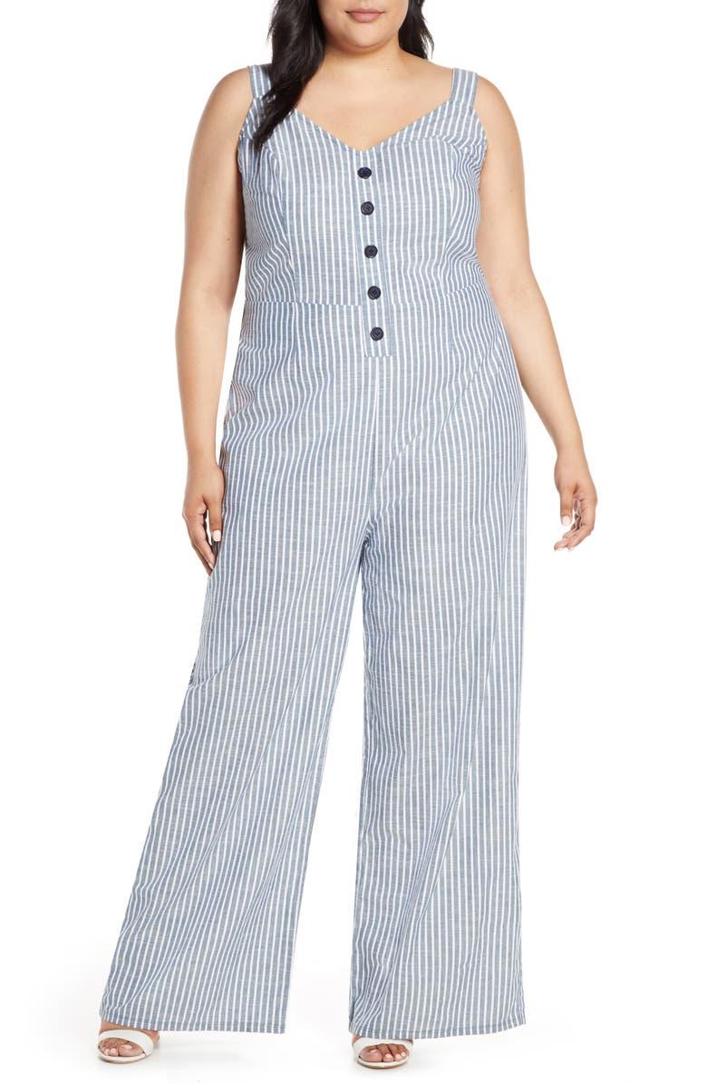 RACHEL RACHEL ROY Zarita Stripe Back Tie Cotton Jumpsuit, Main, color, WHITE NAVY STRIPE