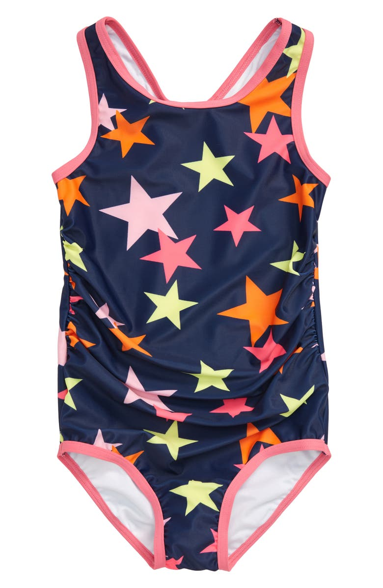 TUCKER + TATE Racerback One-Piece Swimsuit, Main, color, NAVY MEDIEVAL CONFETTI STARS