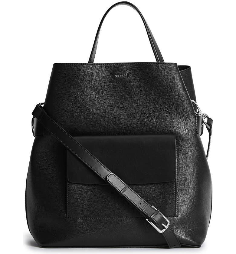 REISS Freya Leather Bucket Bag, Main, color, BLACK