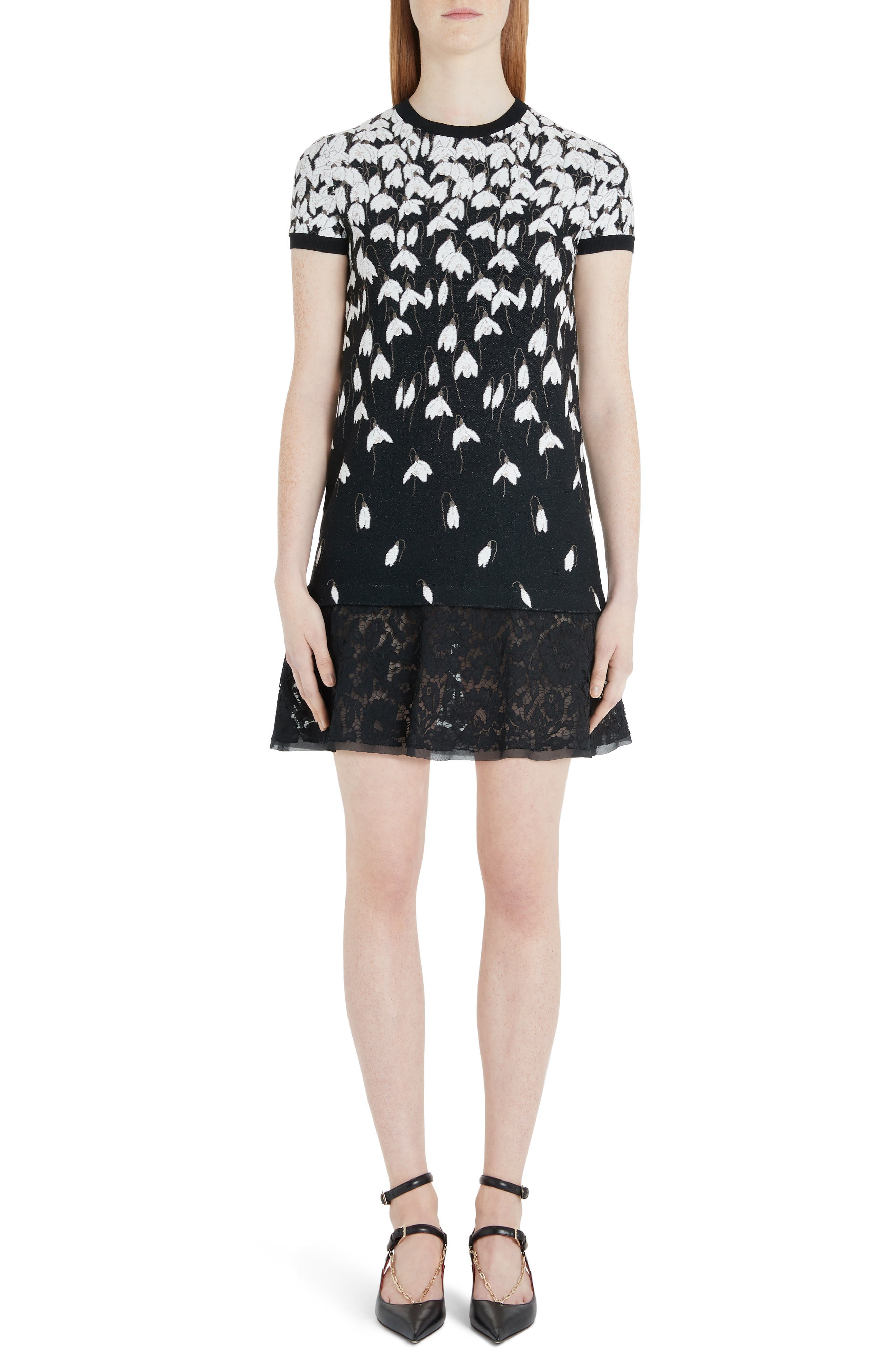 Valentino Bucaneve Lace Hem Jacquard Sweater Minidress, Black
