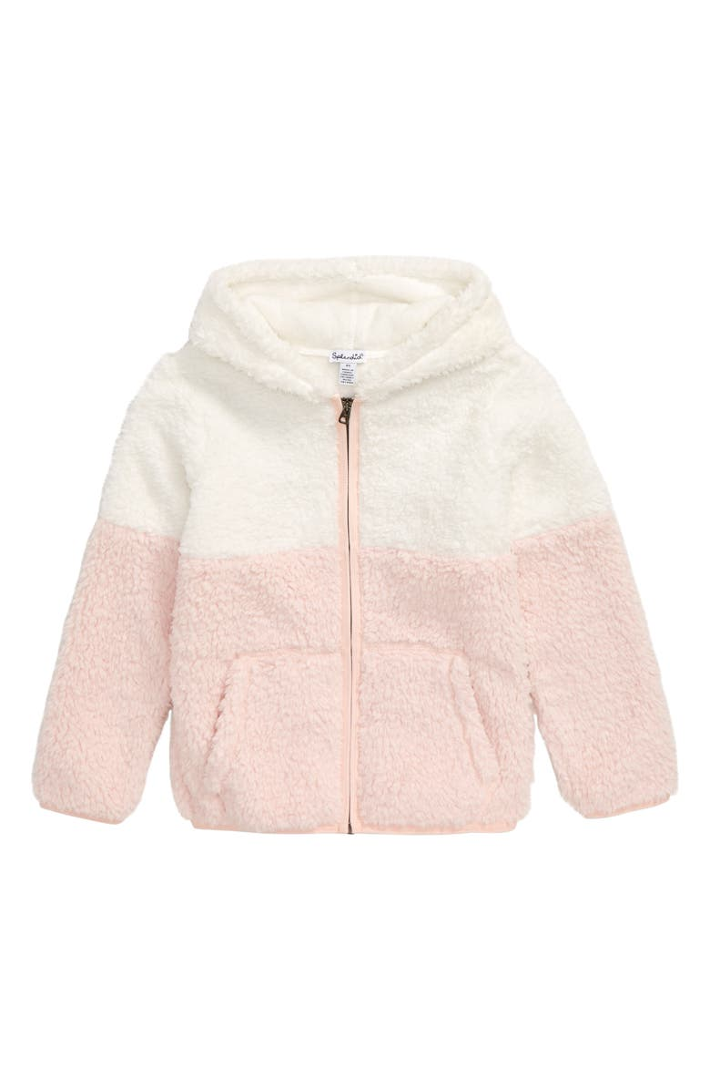 SPLENDID Two-Tone Fleece Full Zip Hoodie, Main, color, VEIL ROSE