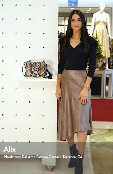 Miki Snake Embossed Leather Crossbody Bag, sales video thumbnail