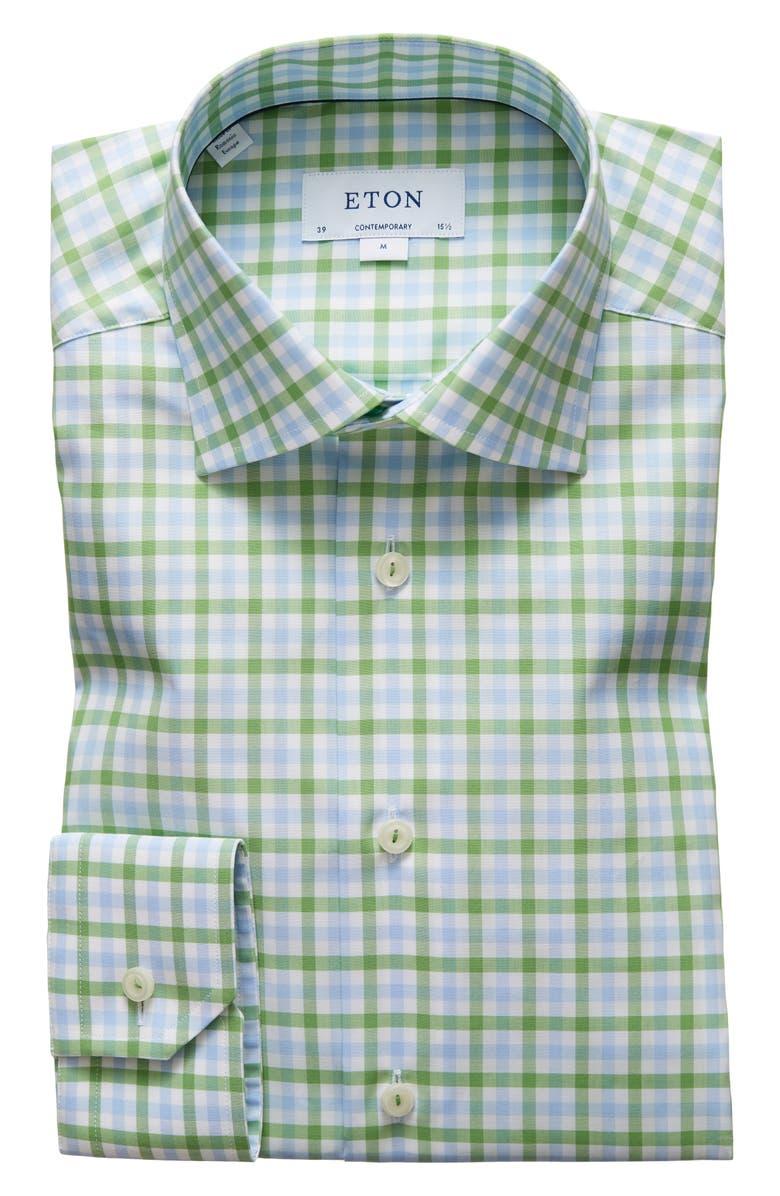 ETON Contemporary Fit Check Dress Shirt, Main, color, 300