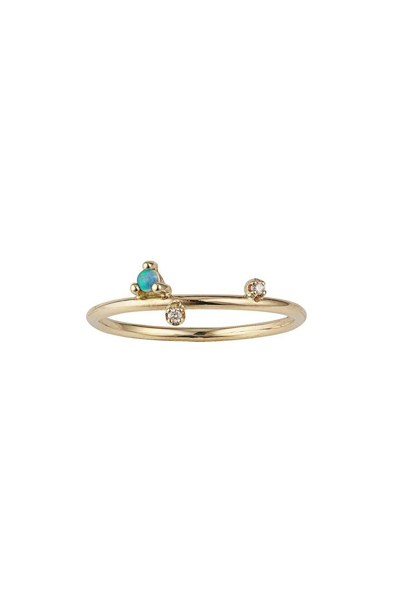 WWAKE Mini Three-Step Ring, Main, color, YELLOW GOLD/ OPAL/ DIAMOND
