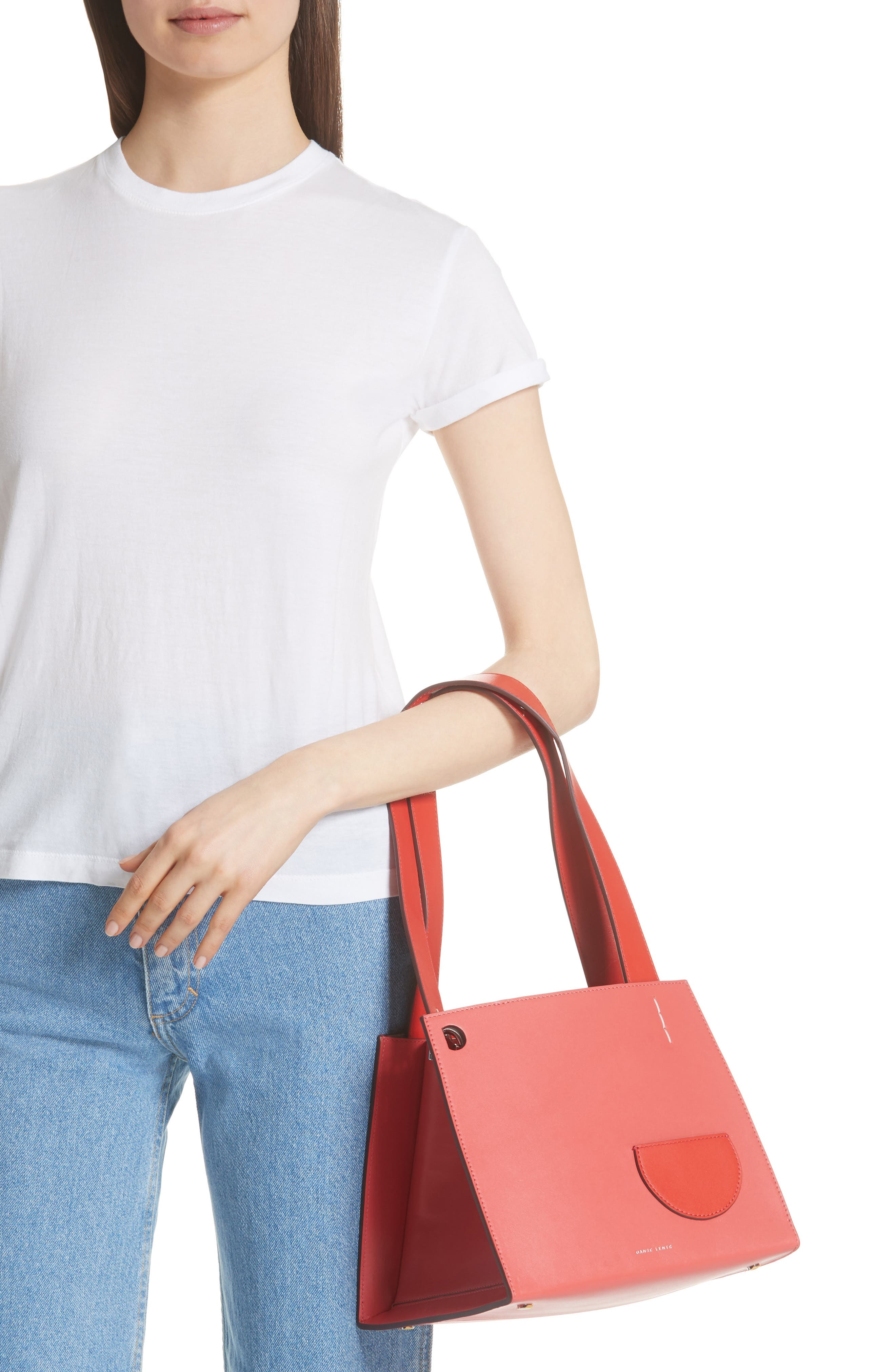 ,                             Margot Leather & Genuine Shearling Tote Bag,                             Alternate thumbnail 2, color,                             CORAL