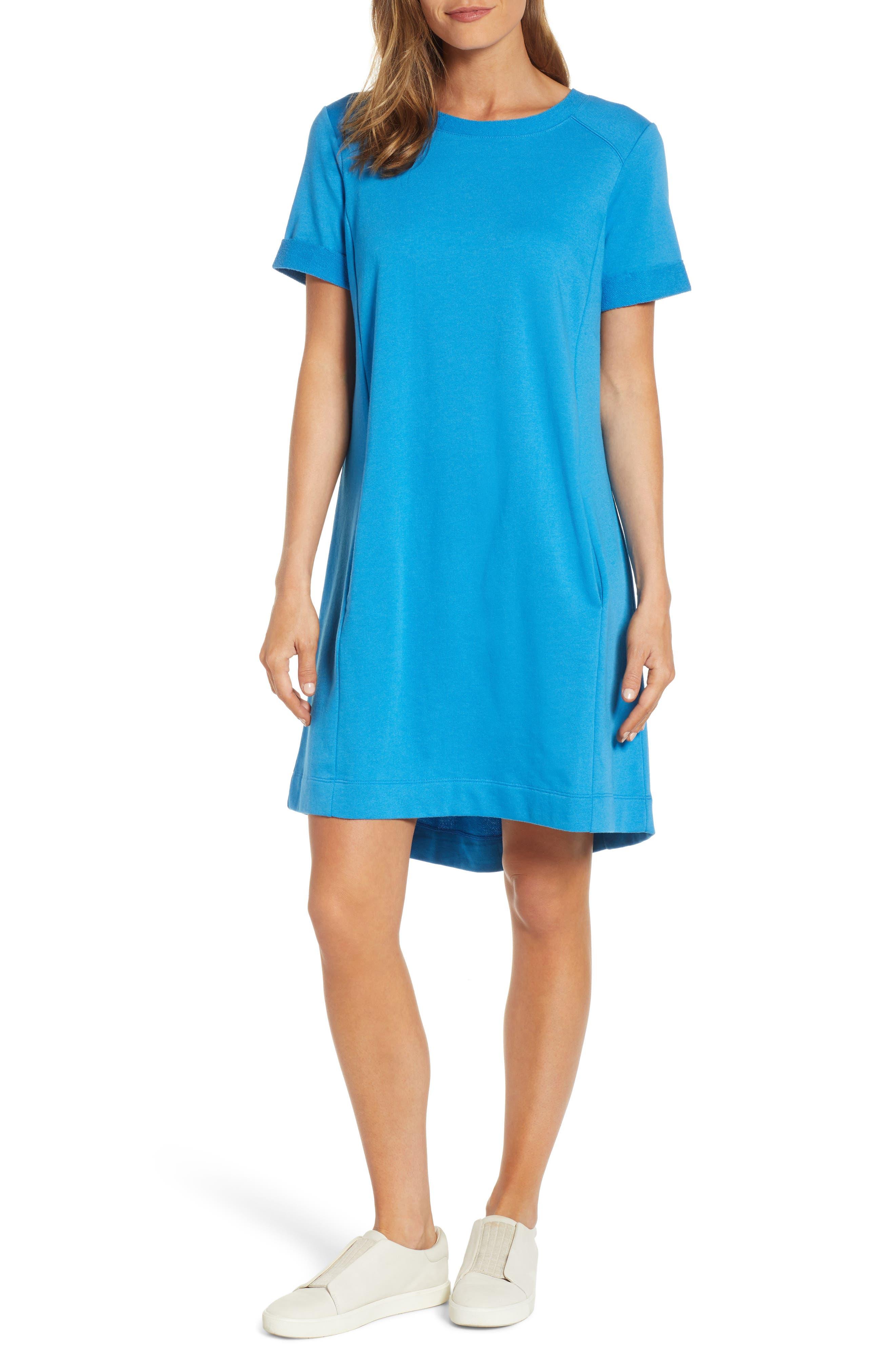 Caslon Short Sleeve Cotton Blend Dress, Blue