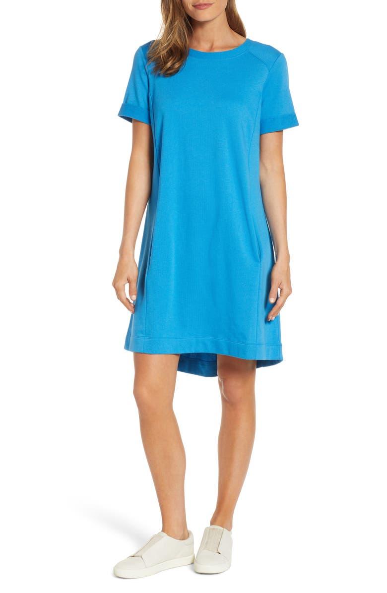 CASLON<SUP>®</SUP> Short Sleeve Cotton Blend Dress, Main, color, BLUE EUROPE