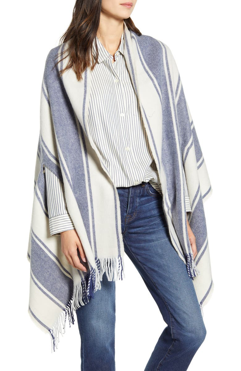 MADEWELL Twill Stripe Cape Scarf, Main, color, MOONLESS NIGHT MULTI