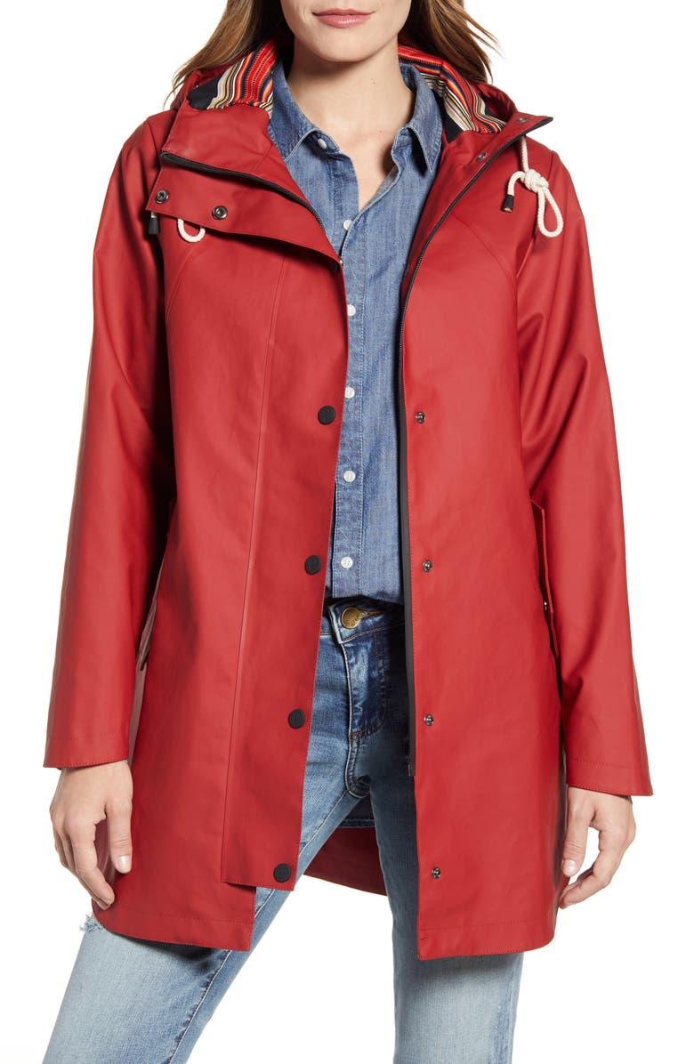 PENDLETON Newport Hooded Waterproof Raincoat, Main, color, RED
