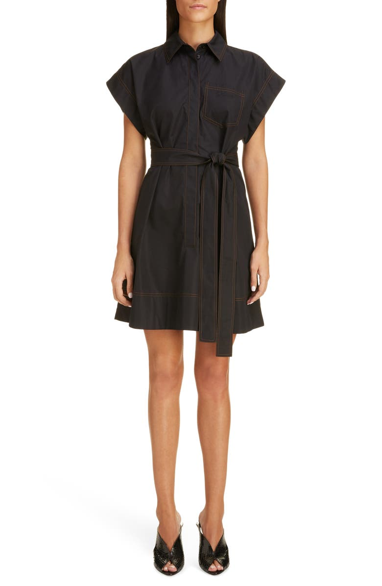 GIVENCHY Belted Cotton Shirtdress, Main, color, BLACK