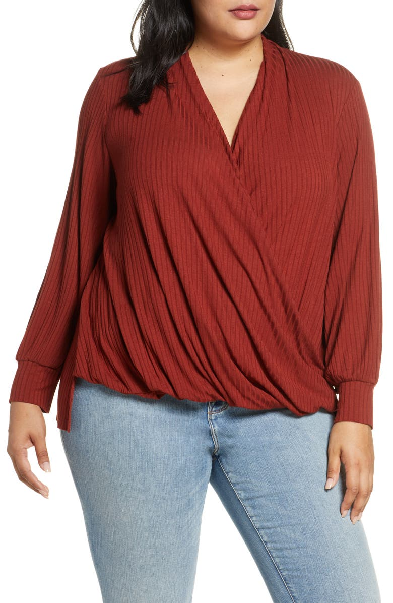 Single Thread Ribbed Faux Wrap Top Plus Size