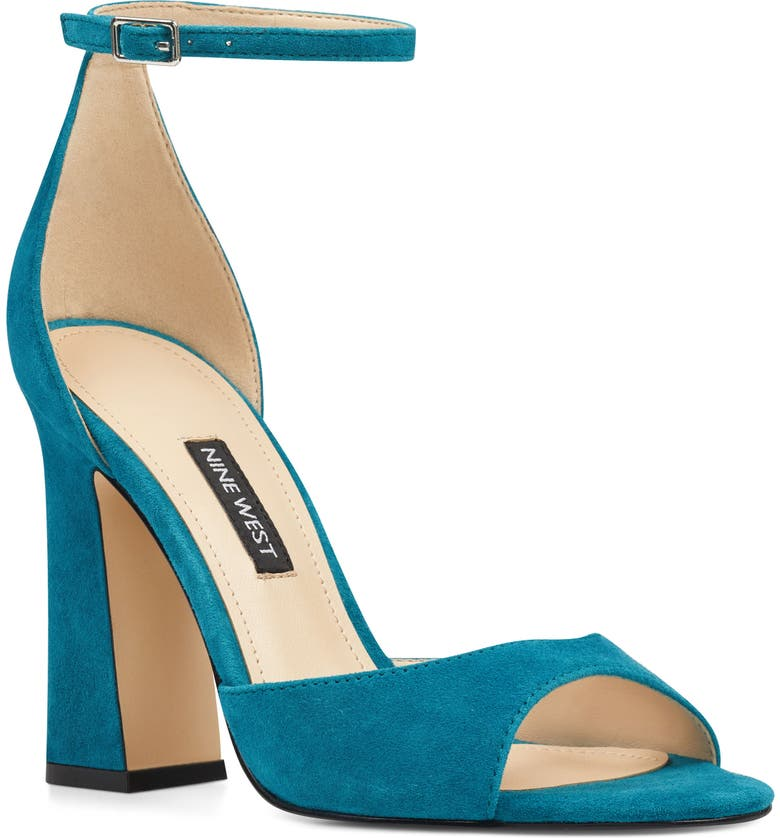 NINE WEST Gavyn Ankle Strap Sandal, Main, color, TEAL SUEDE
