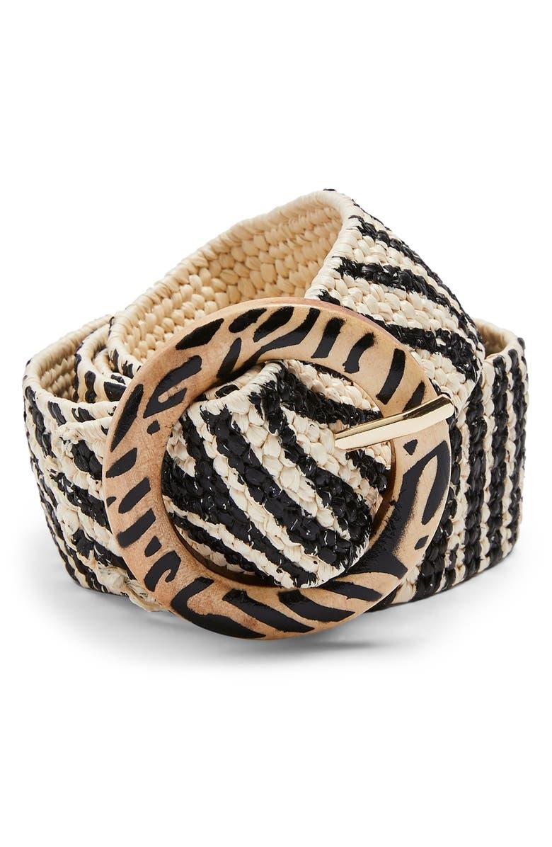 TOPSHOP Zebra Print Raffia Belt, Main, color, 001