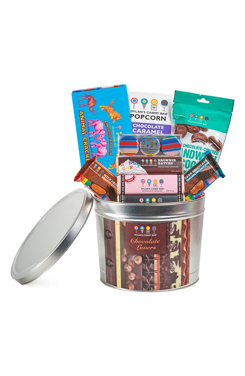 DYLAN'S CANDY BAR Chocolate Lovers Gift Bucket, Main, color, BROWN MULTI