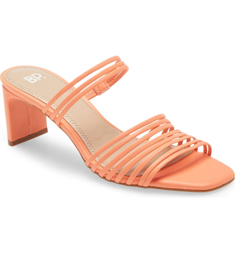 BP. Brittany Strappy Slide Sandal, Main, color, CORAL FAUX LEATHER