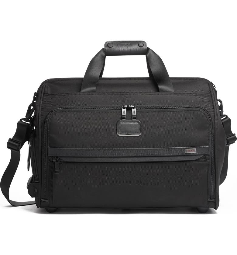 TUMI Alpha 3 Collection Framed Soft Duffle, Main, color, BLACK