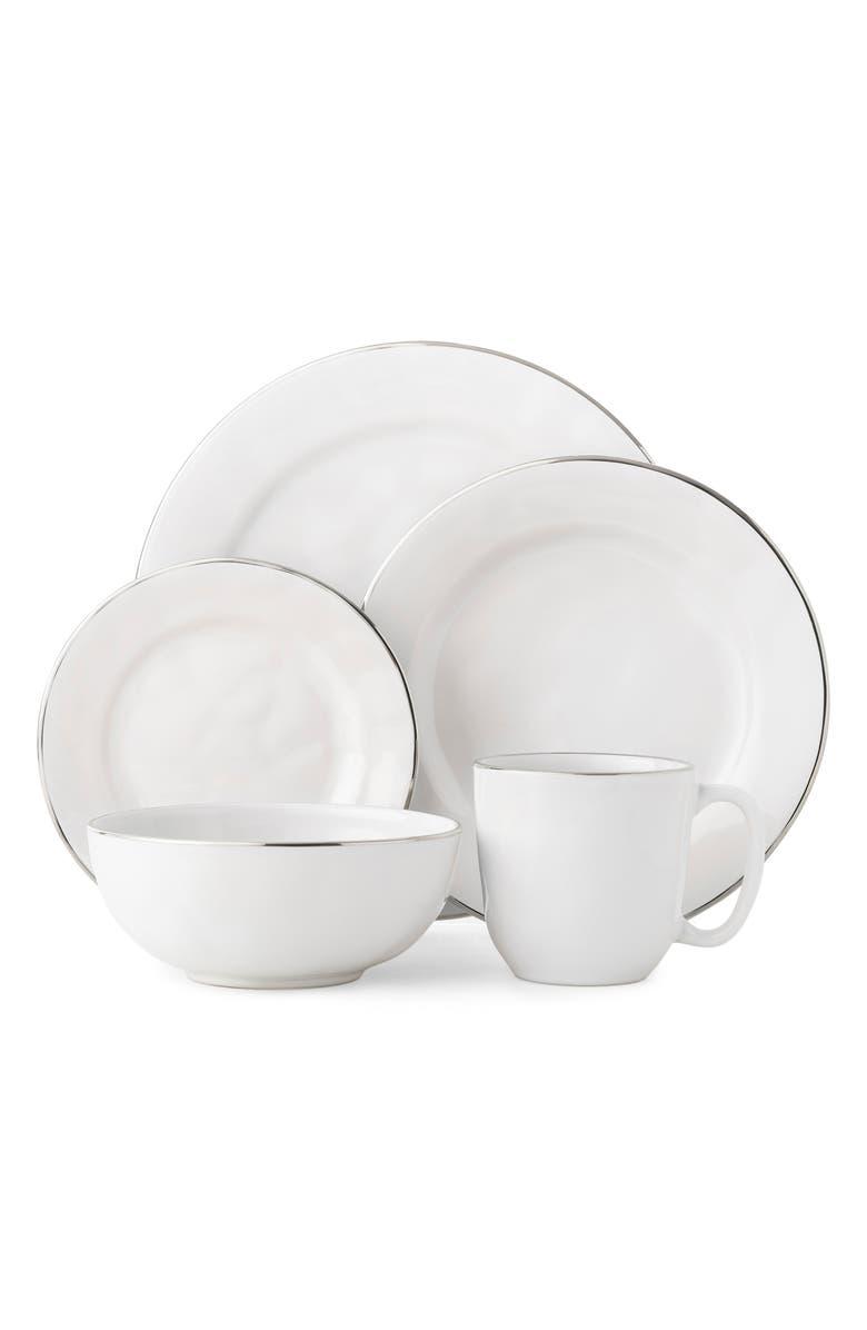 JULISKA Puro Platinum 5-Piece Dinnerware Place Setting, Main, color, WHITE/ PLATINUM