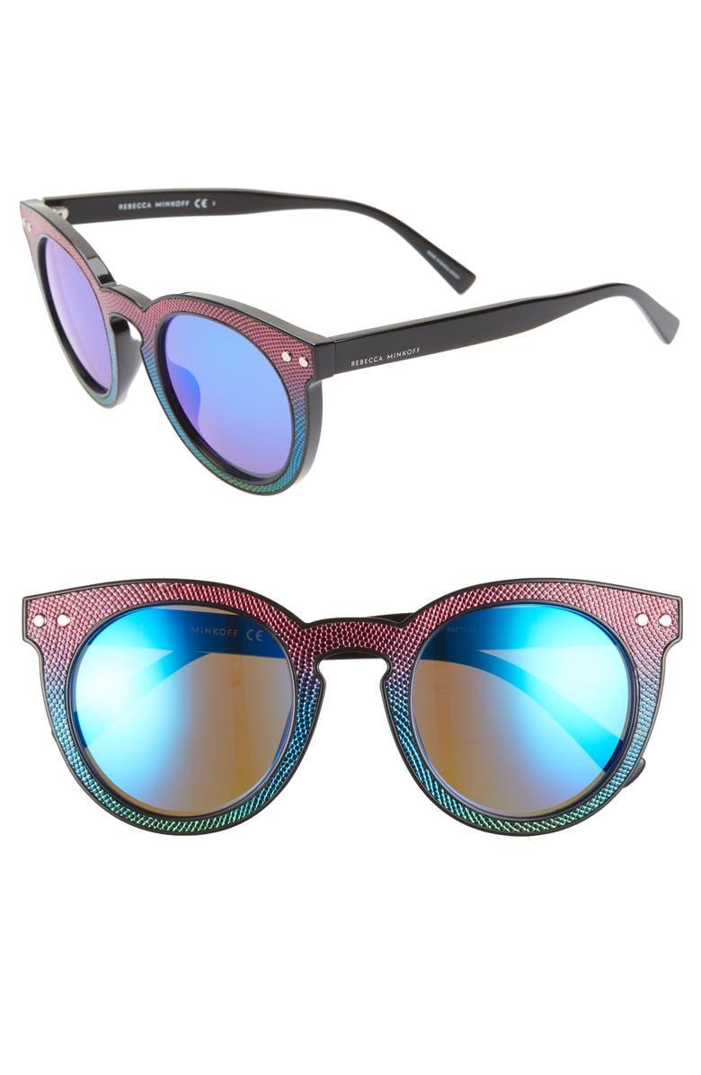 REBECCA MINKOFF Patti1 49mm Round Sunglasses, Main, color, BLACK MULTICOLOR