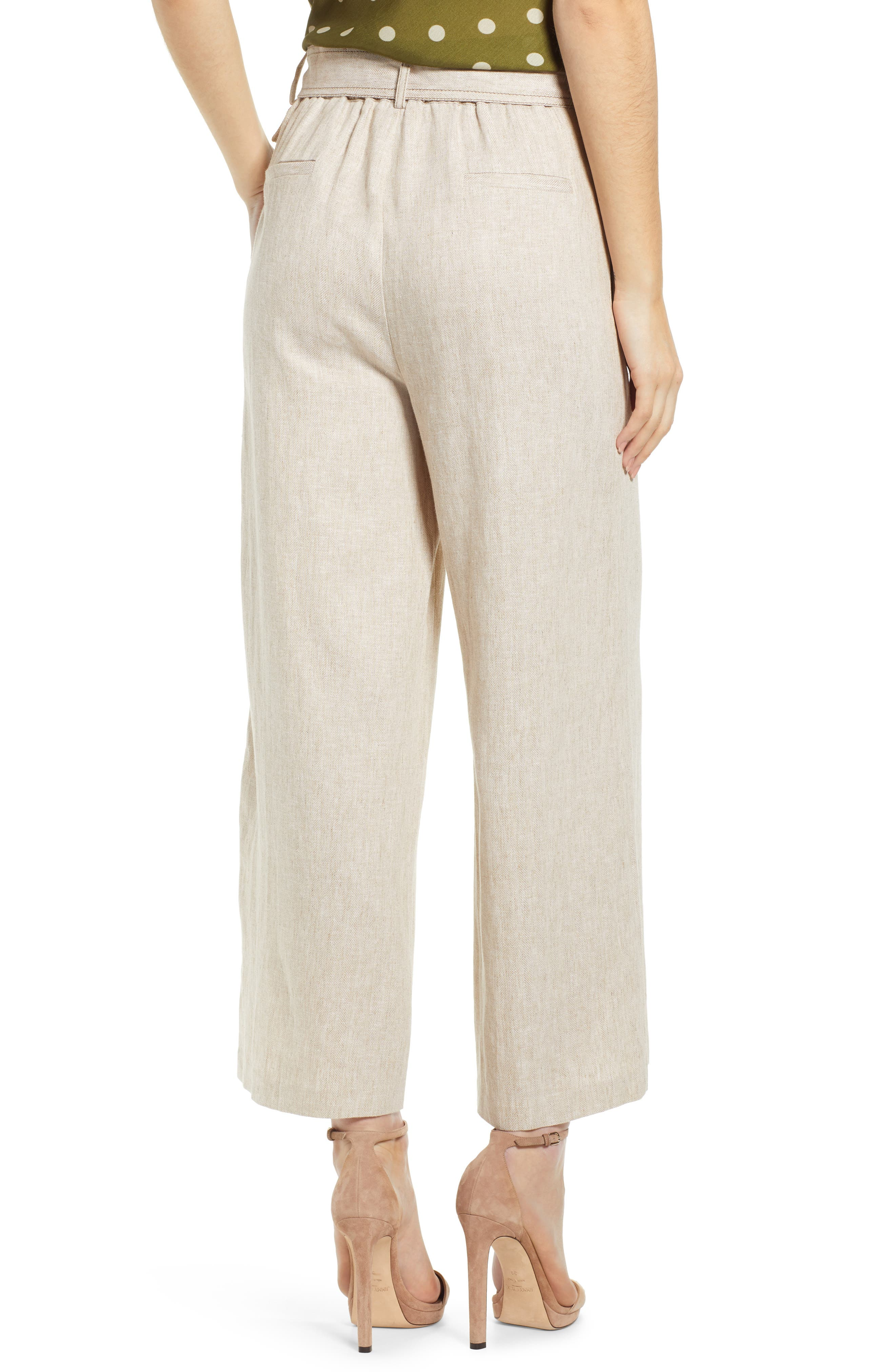 ,                             Chriselle Lim Toulouse Wide Leg Crop Trousers,                             Alternate thumbnail 2, color,                             OATMEAL