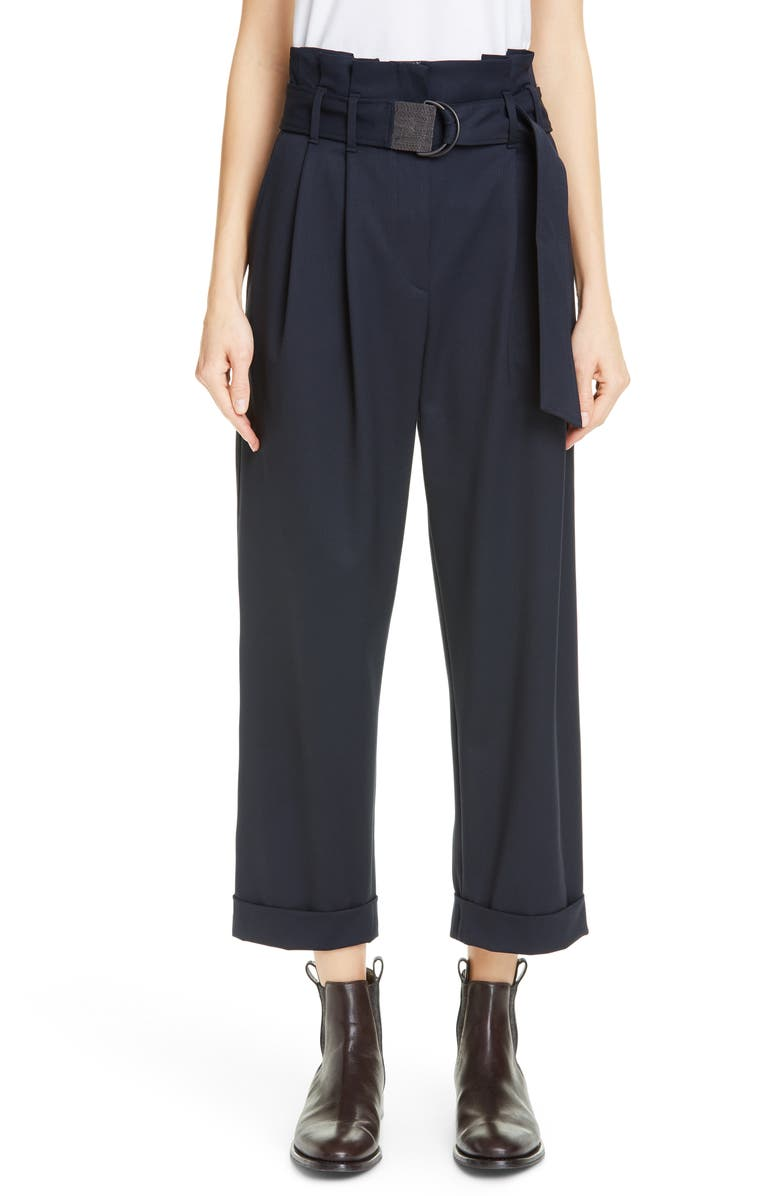 BRUNELLO CUCINELLI Belted Paperbag Waist Wool Blend Pants, Main, color, MIDNIGHT