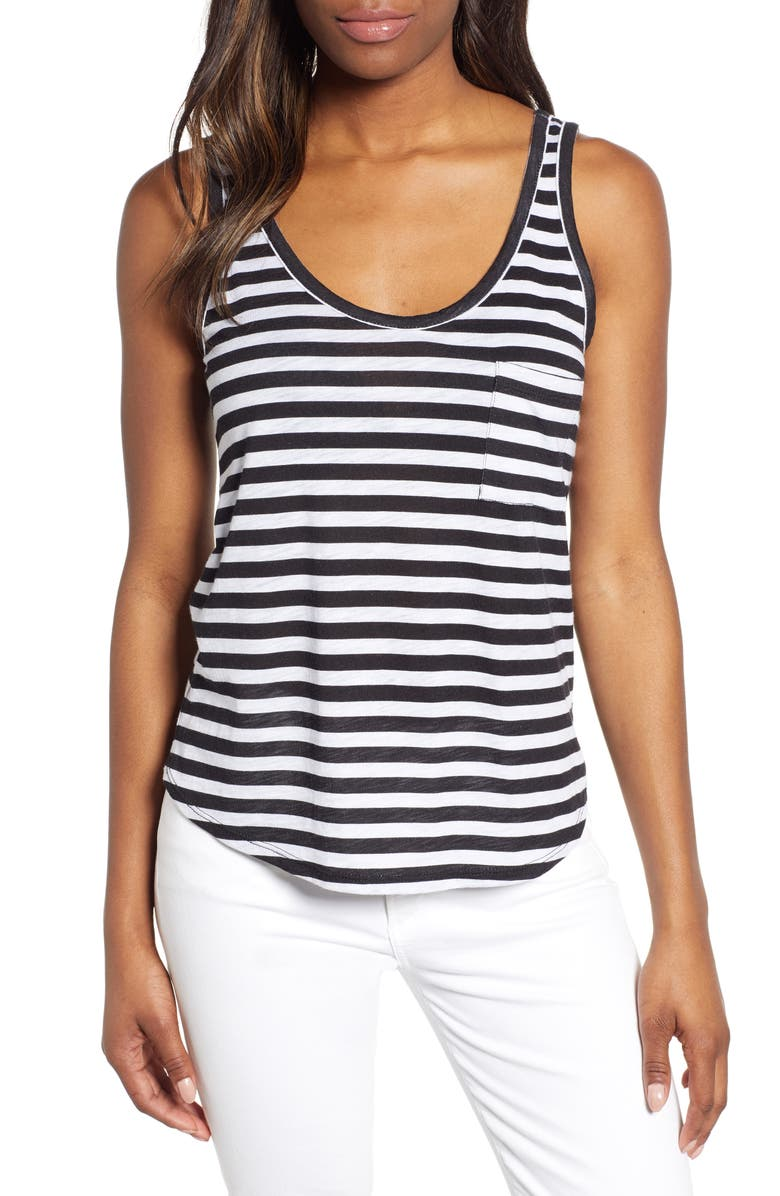 GIBSON x Hi Sugarplum! Summerland Scooped Neck Pocket Tank Top, Main, color, BLACK/ WHITE STRIPE