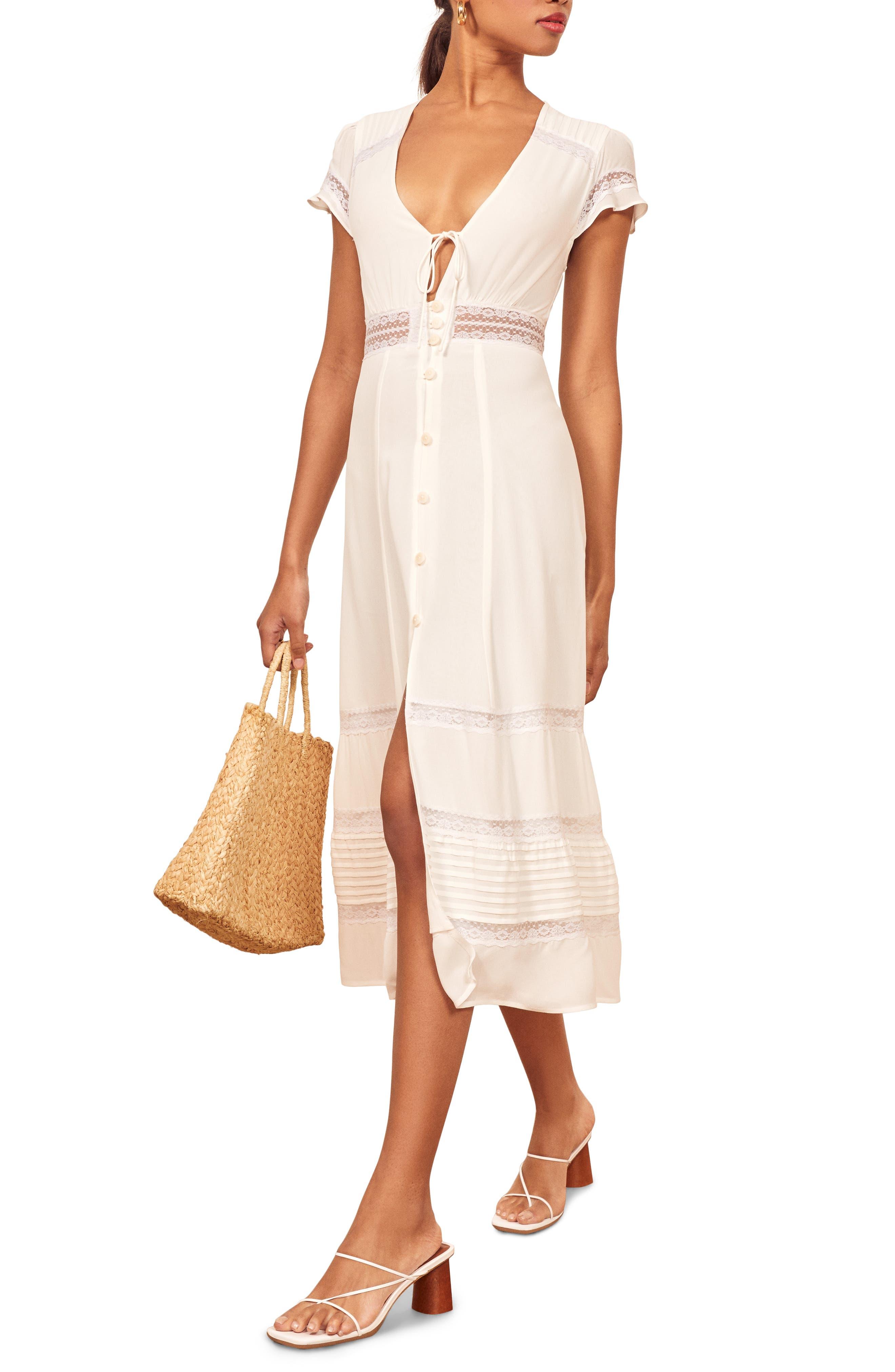 Reformation Garland Lace Trim Midi Dress, White