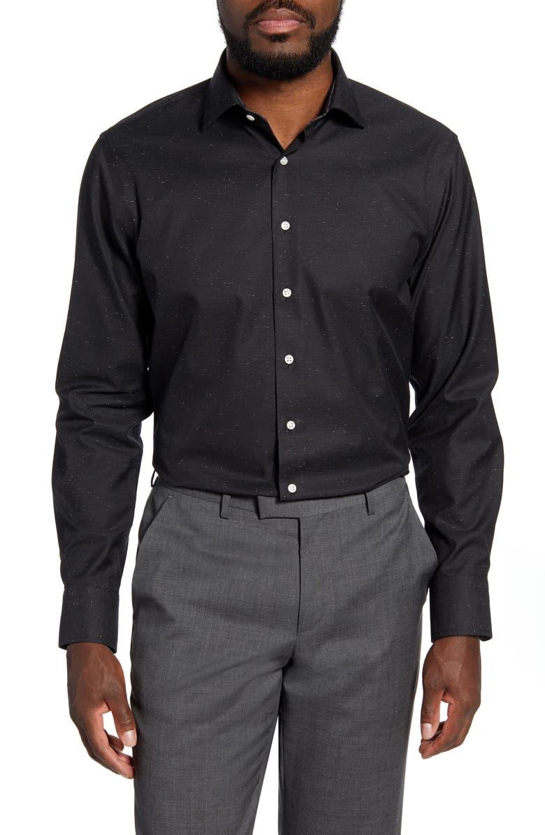 NORDSTROM Men's Shop Trim Fit Non-Iron Solid Dress Shirt, Main, color, BLACK COAL
