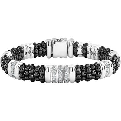 Lagos Black Caviar Diamond Station Bracelet
