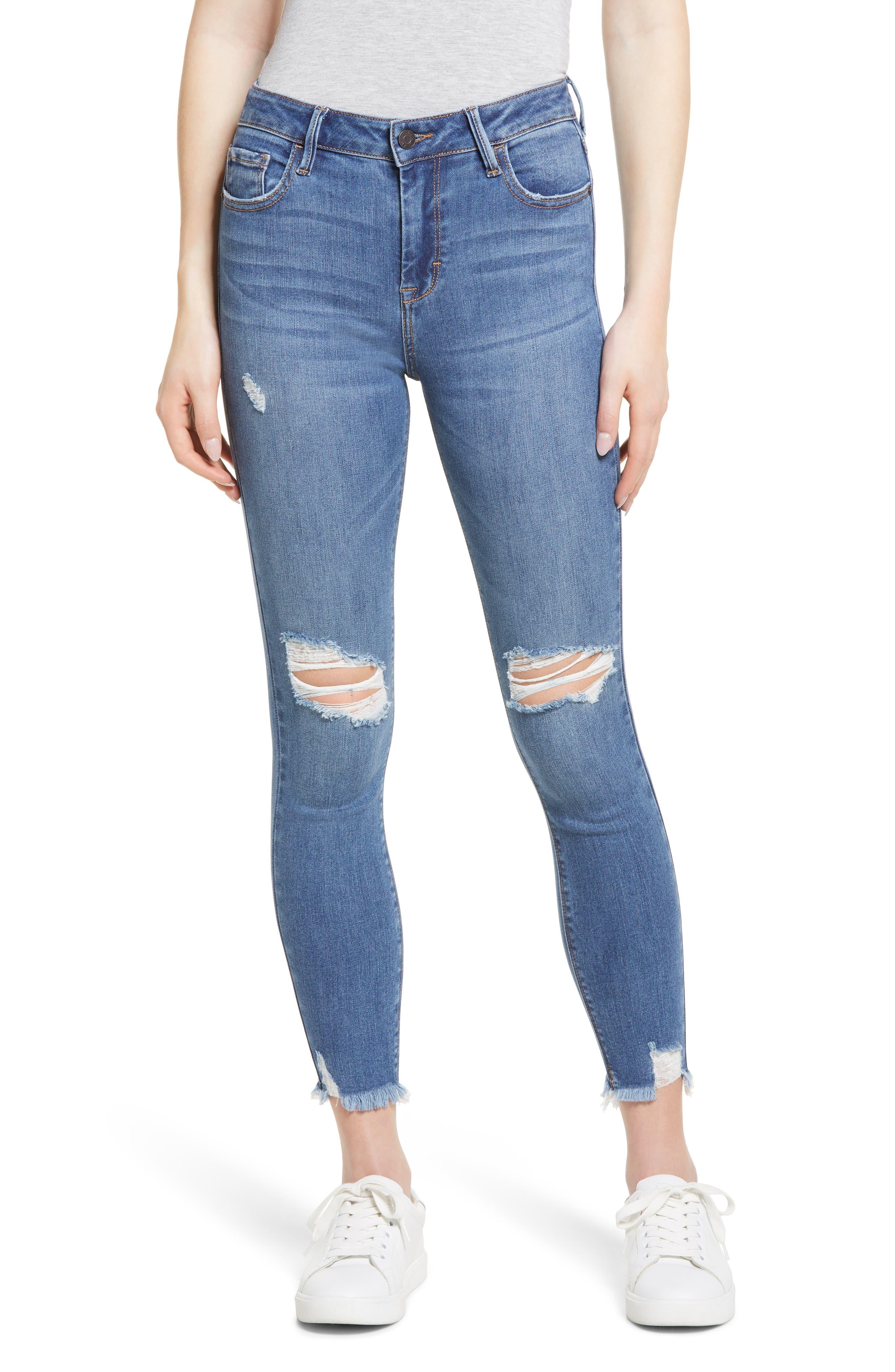 Knee Grinded Raw Hem Skinny Jeans