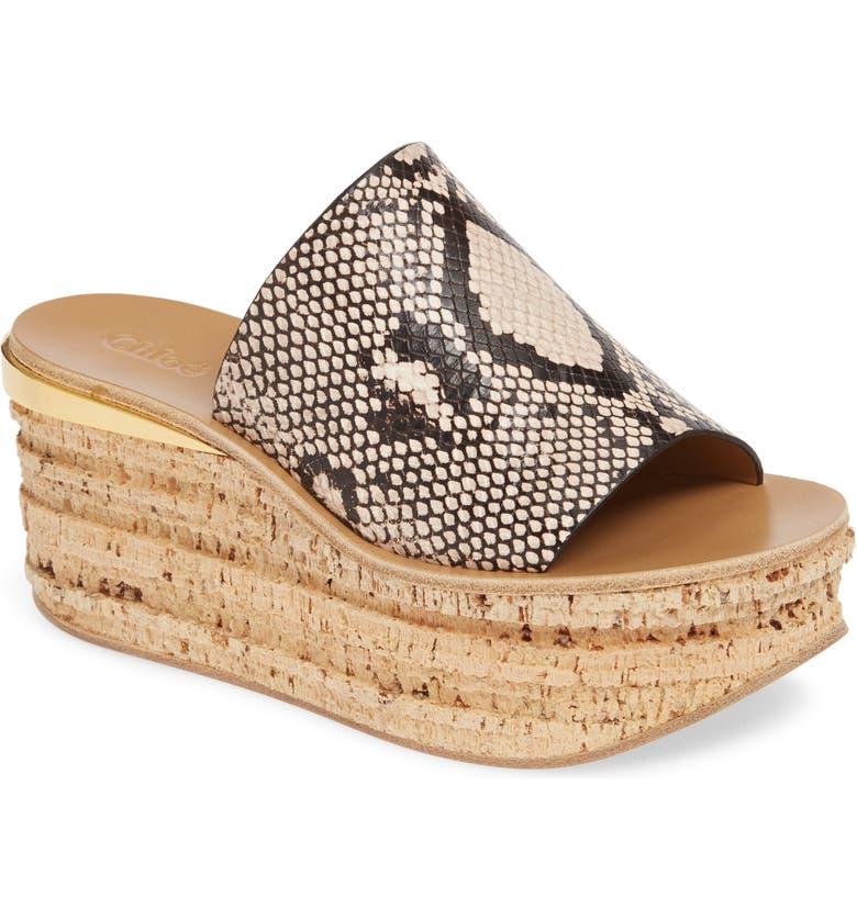 CHLOÉ Camille Python Embossed Platform Sandal, Main, color, ETERNAL GREY