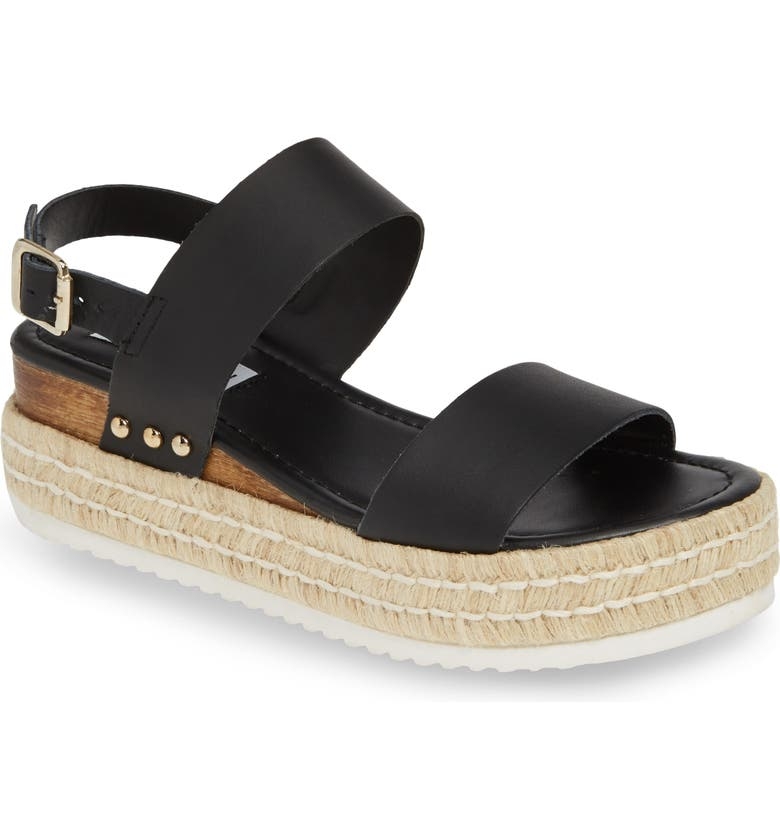 STEVE MADDEN Catia Espadrille Sandal, Main, color, BLACK LEATHER