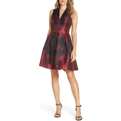 Vince Camuto Jacquard Fit & Flare Dress, Pink