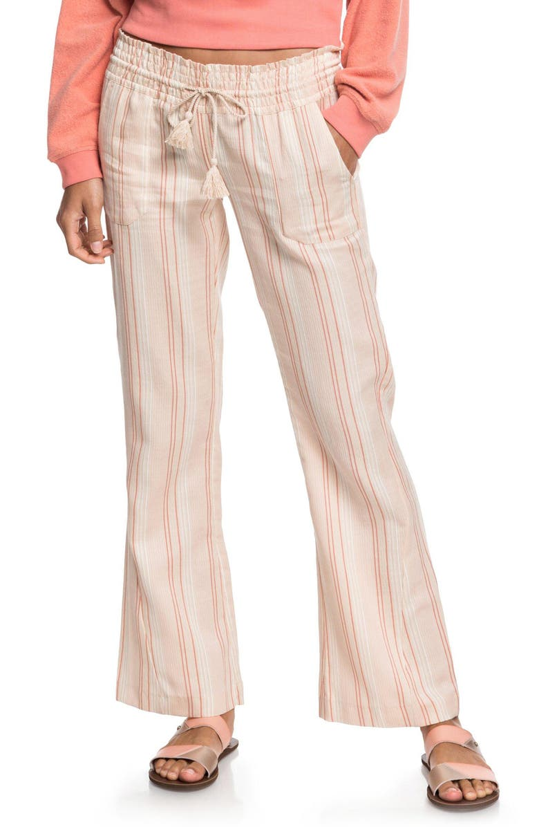 ROXY Oceanside Stripe Flare Pants, Main, color, IVORY CREAM GAMMA STRIPE