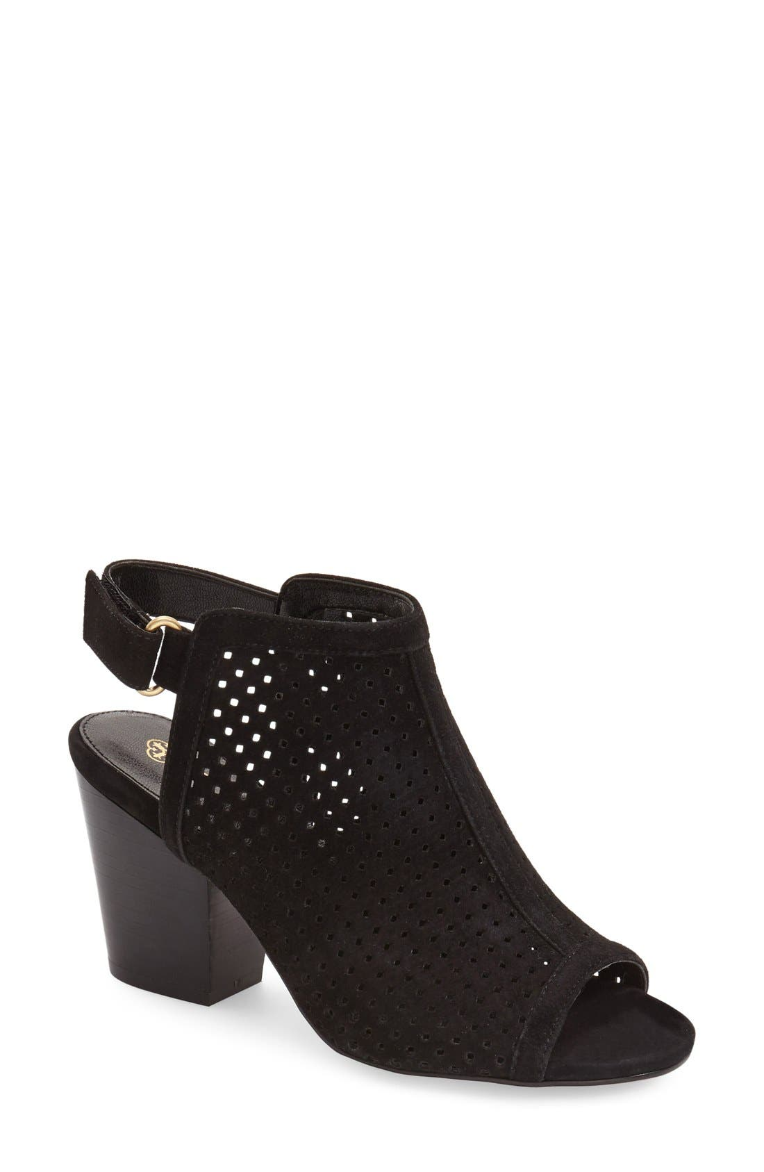 ,                             'Lora' Perforated Open-Toe Bootie Sandal,                             Main thumbnail 6, color,                             001