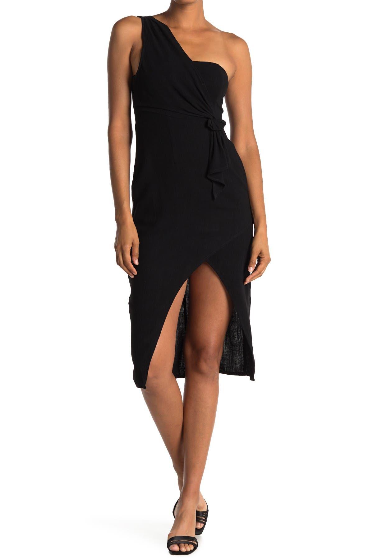 Image of FAVLUX One-Shoulder Faux Wrap Dress