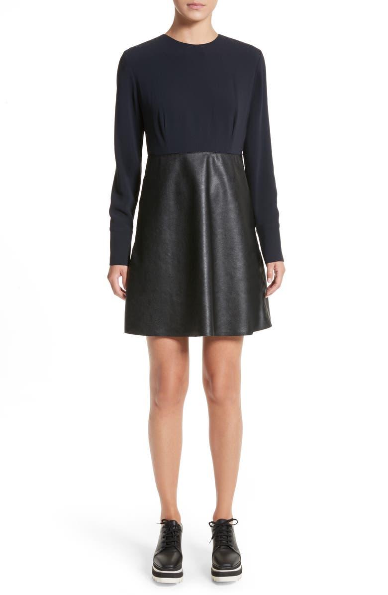 STELLA MCCARTNEY Alter Leather & Stretch Cady Dress, Main, color, 001