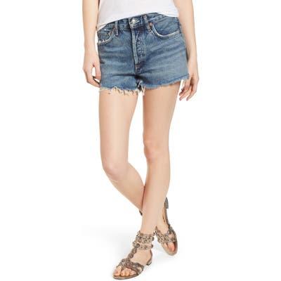 Agolde Parker Distressed Denim Shorts, 3 - Blue