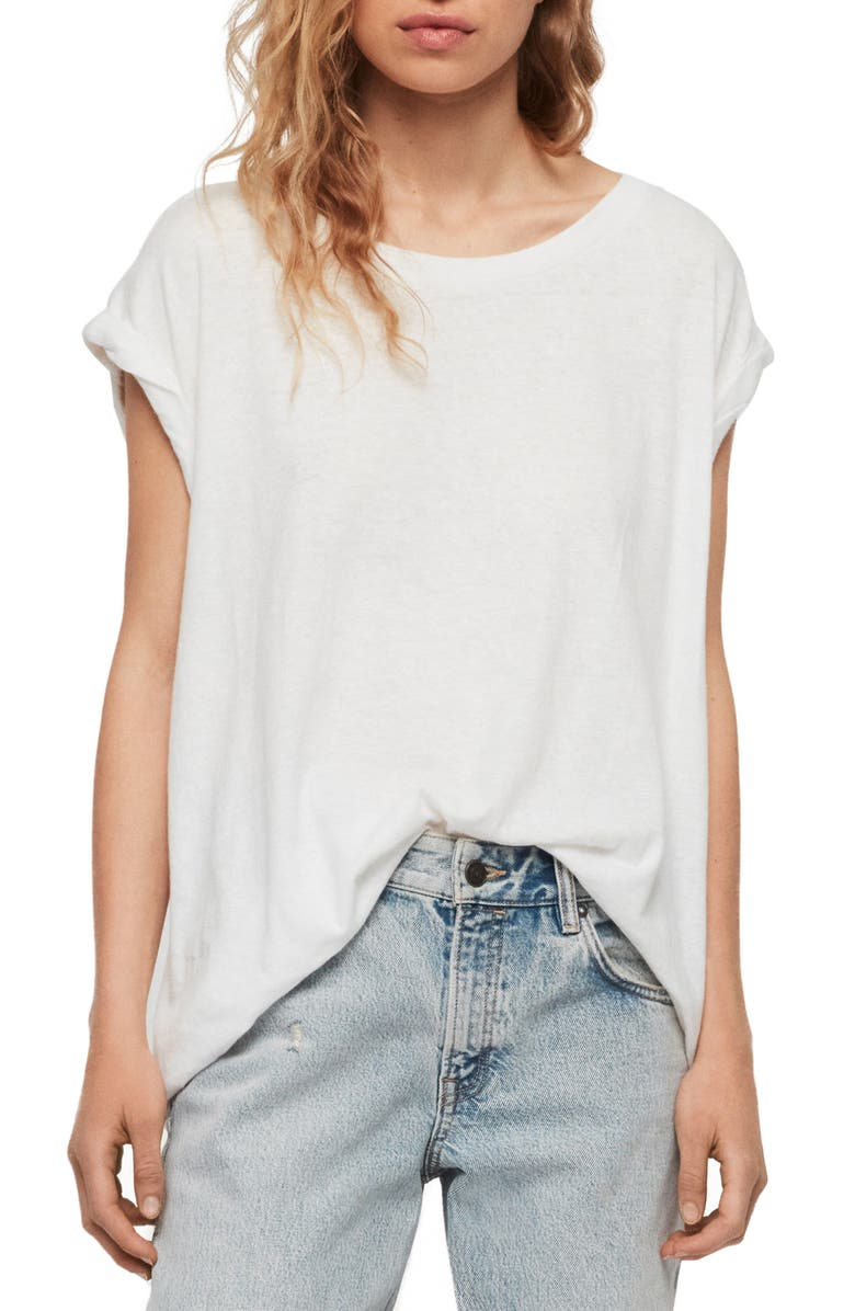ALLSAINTS Sanza Cotton & Linen Tee, Main, color, CHALK WHITE