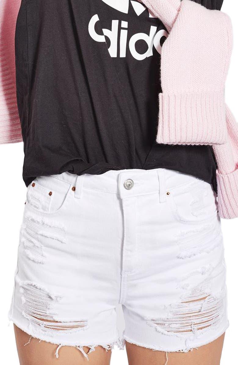 TOPSHOP Mom Shorts, Main, color, 100