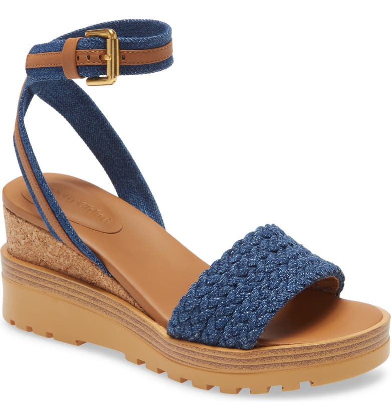 SEE BY CHLOÉ Robin Ankle Strap Wedge Sandal, Main, color, 410
