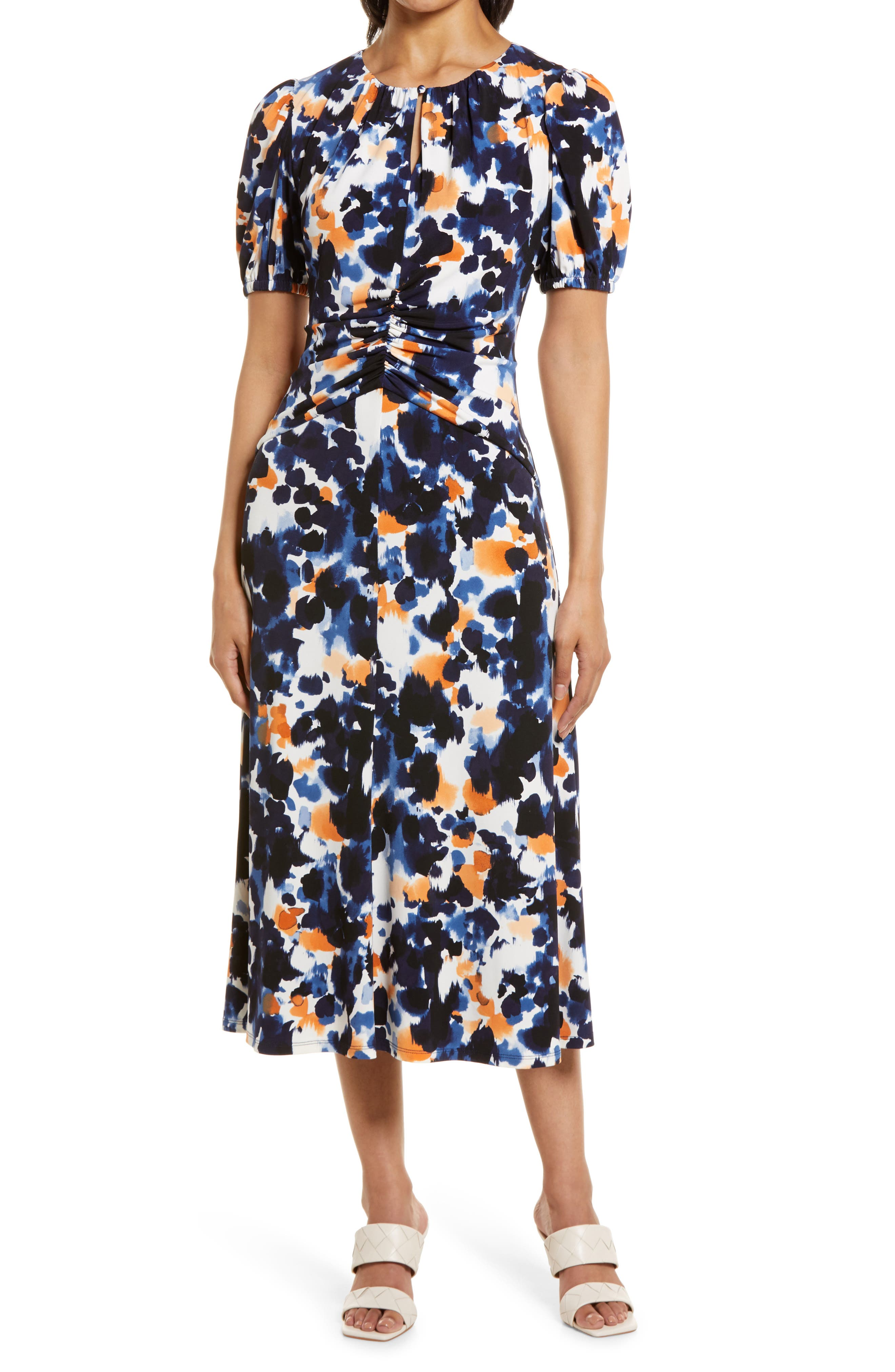 Print Ruched Waist Midi Dress