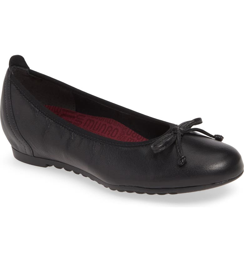 MUNRO Quinn Ballet Flat, Main, color, BLACK LEATHER