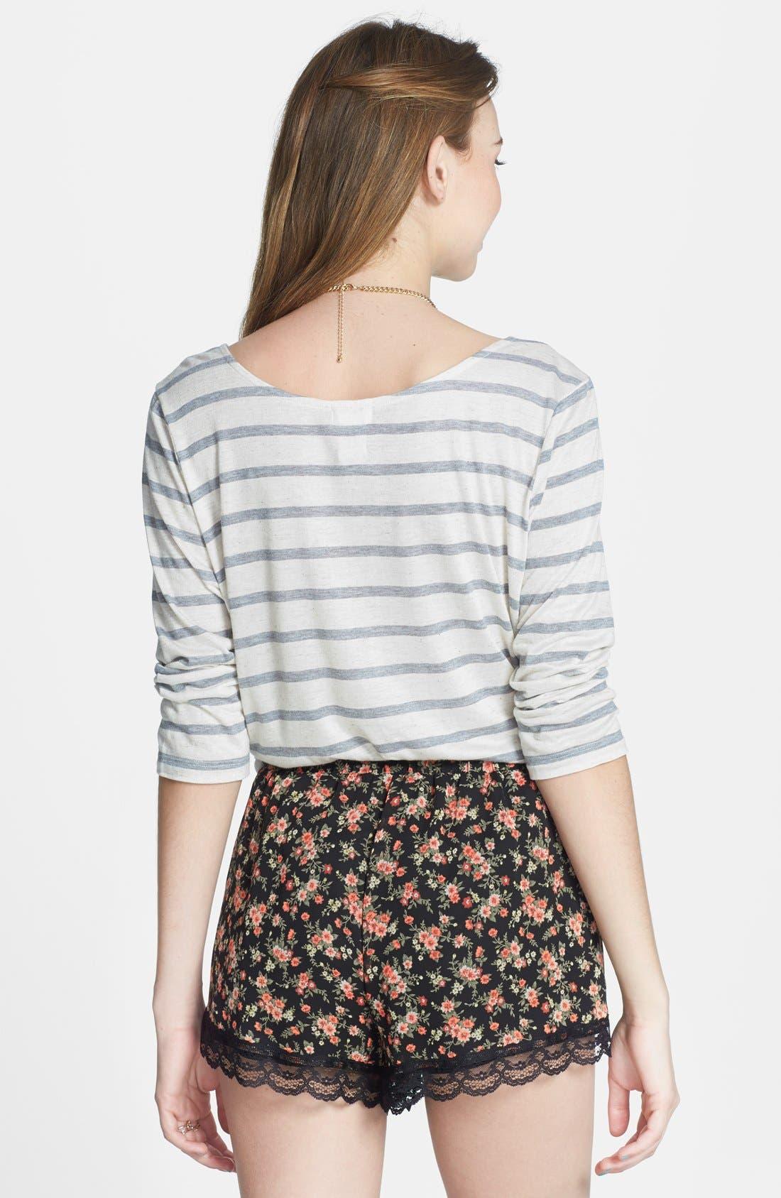 ,                             Lace Trim Floral Print Shorts,                             Alternate thumbnail 5, color,                             002
