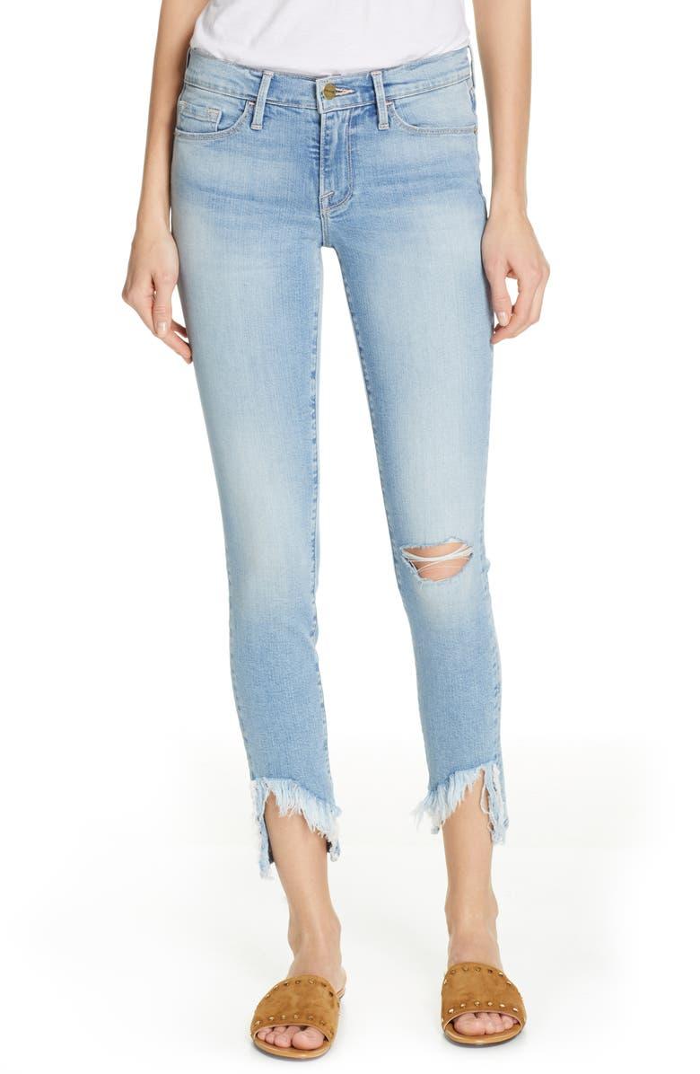 FRAME Le Skinny de Jeanne Frayed Ankle Skinny Jeans, Main, color, 452