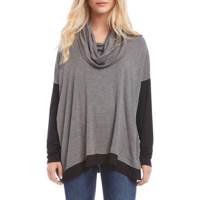 Karen Kane Colorblock Cowl Neck Long Sleeve Top, Grey