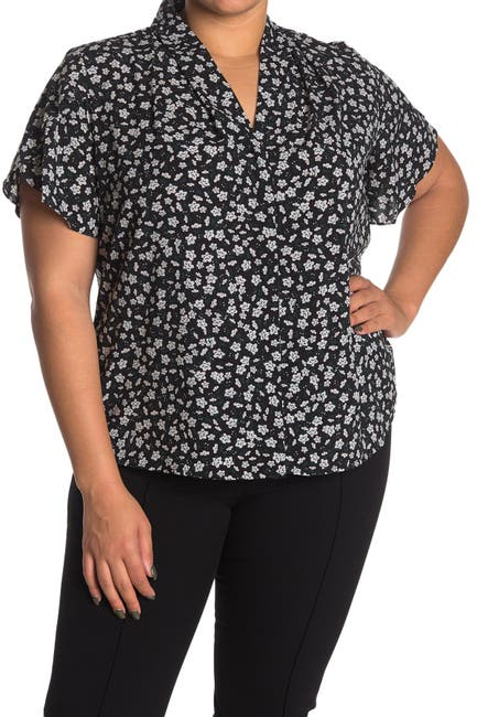 Image of Calvin Klein Printed Roll Collar Blouse