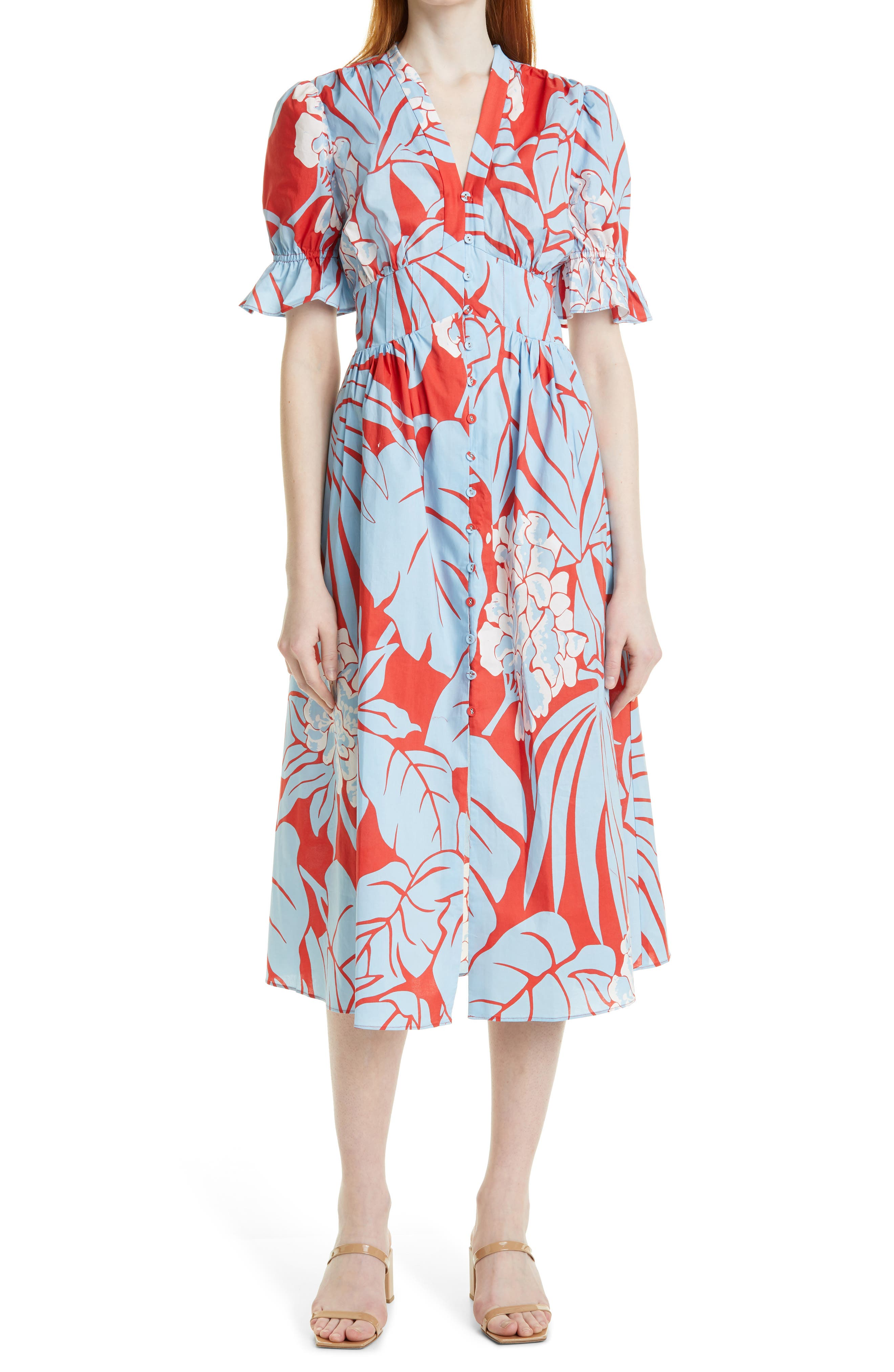 Erica Floral Short Sleeve Cotton Dress