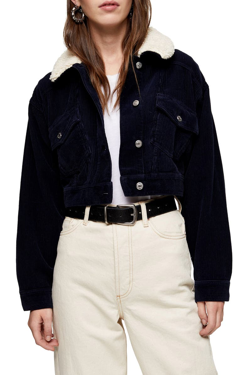 TOPSHOP Borg Crop Corduroy Jacket, Main, color, BLUE